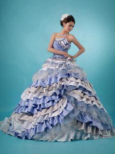 カラードレス ブルー サテン オーガンジー プリンセスドレス お色直し 人気 Pclbhs4449