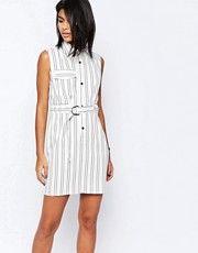 Платье-рубашка в полоску с поясом и D‑образным кольцом ASOS