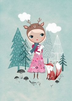 Rebecca Jones poster deer girl mint 29,7 x 42 cm
