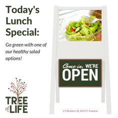 Go green on Thursday with one of our healthy salad options! Try one of our new spring salads. We have several wonderful salads at Tree Of Life this spring! Choose one of the following new salads:  1. Nopales Salad with Cotija Cheese 2. Wild Rice and Grilled Asparagus Salad 3. Spinach and Strawberry Salad with Bacon 4. Pasta Salad with Vegetables and Grilled Chicken