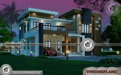 Indian Home Plans with Photos - 2 Story 3727 sqft-Home Free House Design, Best Modern House Design, House Front Design, Small House Design, Cool House Designs, Indian House Exterior Design, Indian Home Design, Kerala House Design, Plan Duplex