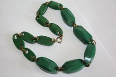 Vintage Necklace Chunky Green Celluloid Link 1950s by patwatty, $45.00