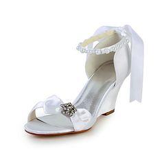 Sierlijke satijnen sleehak sandalen met strik en imitatie parel bruiloft schoenen (meer kleuren) - EUR € 34.99