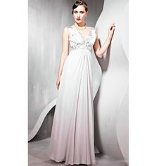Silver Sequin Gray Gray V Neck Evening Ball Gown Occasion Dress SKU-122240