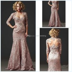 Wholesale Mother of the Bride Dress - Buy 2014 Classic Lace Backless Floor Length Mermaid Mother Of Bride Dress Sweetheart 3/4 Long Sleeve Applique Groom Mother Dresses DX403, $120.26 | DHgate
