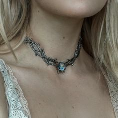 Our bestselling Skadi Chokers now available in magical Mystic Opal! Only at shopdixi.com. #shopdixi #skadi #choker #thorn #jewelry #gothic #witchy