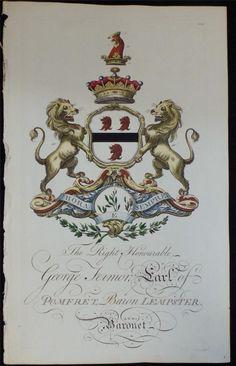 Coat of arms of George Fermor (1722–1785), 2nd Earl of Pomfret (GB 1721), Joseph Edmondson's Baronagium Genealogium, London, 1764-1784.
