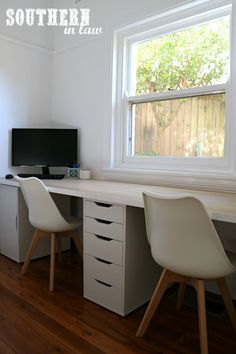 Spare Bedroom to Home Office Makeover on a Budget - Unique Home Office Ideas and How To's - IKEA Linnmon Table Top, Alex Drawers and Eames Chairs Spare Room Office, Ikea Home Office, Home Office Space, Home Office Design, Bedroom Office, Home Office Table, Ikea Office Drawers, Office Spaces, Office Chairs