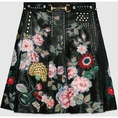 Gucci Hand-Painted Leather Skirt ($7,530) ❤ liked on Polyvore featuring skirts, black, womens ready to wear, black flower skirt, knee length leather skirt, black skirt, gucci skirt and black pleated skirt