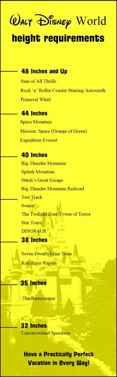 How Tall to Ride Space Mountain? Post has Height requirements and restrictions for Walt Disney World Parks rides and attractions!
