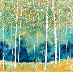 Don't Follow Harry, encaustic painting by Catharine Clarke | Effusion Art Gallery + Glass Studio, Invermere BC Lake Painting, Encaustic Painting, Yellow Painting, Colorful Paintings, Nature Paintings, Landscape Paintings, Spring Landscape, Mountain Paintings, Canadian Artists