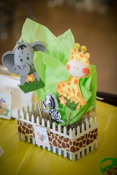 Safari themed baby shower centerpiece