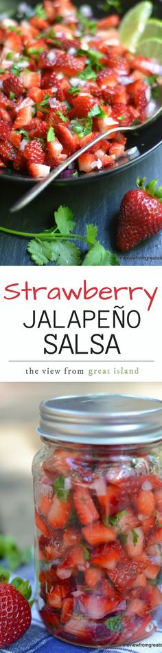 Strawberry Jalapeno Salsa is a zesty salsa perfect for serving alongside grilled meats, fish, chicken, or on top of tacos. They're a deliciously fresh appetizer with chips, too! | spring | picnics | Memorial Day | 4th of July | barbecue | berries