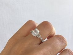 Wedding Ring Set. High Quality Sterling Silver Rhodium Plated Set Of 3 Rings. Aer Deco Wedding Rings. Fine Cz Wedding Ring. by Jadorelli on Etsy