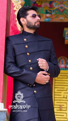 To get this look visit our store in Chandni Chowk or inbox to book an appointment with our Fashion Consultant. Indian Men Fashion, Latest Mens Fashion, Mens Fashion Suits, Engagement Dress For Men, Wedding Dress Men, Sherwani Groom, Mens Sherwani, Indian Wedding Clothes For Men, Gents Kurta