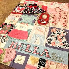 Baby Bella's Memory Quilt Baby Memory Quilt, Baby Quilts, Memory Quilts, Memory Crafts, Baby Crafts, Quilting Projects, Sewing Projects, Baby Clothes Blanket, Keepsake Quilting