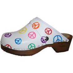 White with Multicolored Peace signs, Snap Strap with your choice of Strap, Tessa Clog