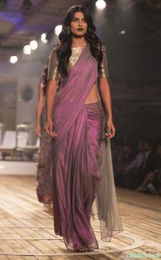 Best of India Couture Week 2015 -  Pale Windsor Wine Silk Organza Saree with Metallic Grey Blouse - Monisha Jaising