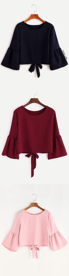 Bell Sleeve Bow Tie Back Blouse. Three colors available.