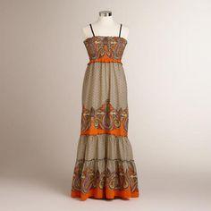 Black and orange Analise maxi dress