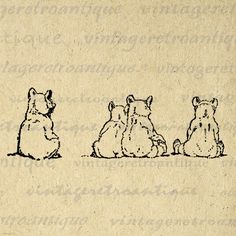 A View For Bears Digital Image Download Printable Graphic Vintage Clip Art for Transfers Printing etc HQ 300dpi No.924. $3.50, via Etsy.