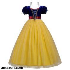 43c2dbf0458 IWEMEK Kids Girls Snow White Princess Fancy Costume Dresses Up Cosplay  Birthday Party Floor Length Dance