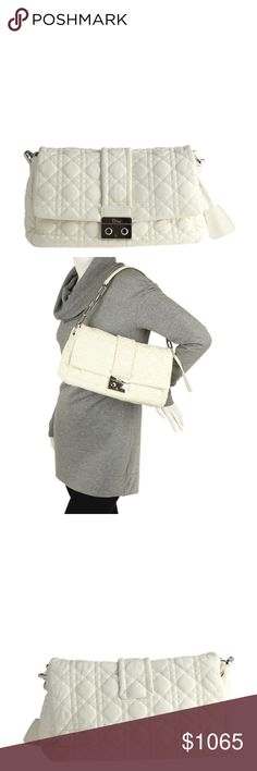 Miss Dior White Quilted Leather Shoulder (111497) •Exterior / Interior Condition: Gently Used •Origin: Italy •Color: White •Interior Lining: Fabric •Interior Color: Tan •Hardware: Silver-Tone •Meas (L x W x H): 11x5x9 •Strap Drop: 7 •Odor: None •Production Code: 15-BO-1019 •It shows creasing to the exterior, scratching to the hardware, and scuffing to the corners. The interior shows a small dot stain on the bottom surface. Ref: 121652-111497-EMS-SL IPL: SR-10 Dior Bags Shoulder Bags