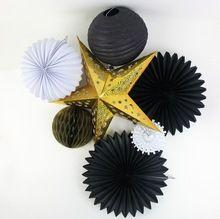Zwart, Wit, Goud 7 stks Decoraties Set Laser Gold Star Zwart Papier Fans, Geplooide Lantaarns, Honingraat bal Opknoping Feestartikelen(China (Mainland))