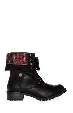 Plaid Fold Over Combat  Boots