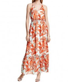 Maple Print Halter Maxi Dress