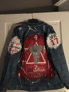Raw idea for a jacket 🔥🔥 Delta Sigma Theta Apparel, Delta Sorority, What Is A Delta, Dope Jackets, Delta Girl, Rocker Outfit, Zeta Phi Beta, Sorority Gifts, A 17