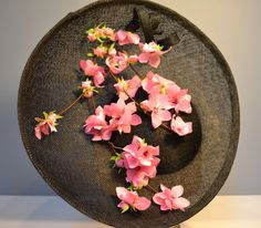 Cherry blossom handmade for this saucer. Great contrast between the black and the pink. Part of Spring Summer Embroidery Works, Silk Flowers, Cherry Blossom, Contrast, Spring Summer, Pretty, Pink, Handmade, Black