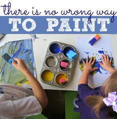 There is no wrong way to paint . Encouraging parents to follow their children's creativity especially if it's not part of the plan! I say this all the time!