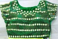 green blouse front side with mirror embellishment Best Blouse Designs, Saree Blouse Designs, Blouse Patterns, Off White Saree, Mirror Work Blouse, Saree Floral, Afghan Clothes, Party Sarees, Green Saree