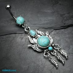 Vintage Floral Filigree Turquoise Stone Belly Button Ring