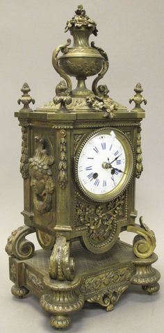 FRENCH CAST BRONZE MANTLE CLOCK