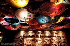 Hanging Chinese Parasols for over dance floor (lighting effects)