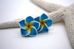 Blue Flower Earrings Floral Earrings Tropical Flower Blue Earrings Plumeria Frangipani Flower Jewelry Hawaiian Jewelry Hawaii Jewelry 030 (8.00 USD) by DRaeDesigns