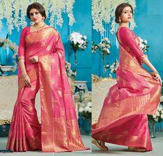 wedding Wear Saree Indian ethnic zari Bollywood bridal silk pink new Sari blouse #Handmade #saree