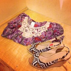 lace shirt and chevron wedges