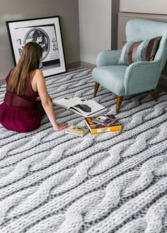 If you find your woolly jumper isnt keeping you warm enough, cosy up on our knitted flooring. Digitally printed vinyl flooring collaboration between Floorink and Melanie Porter.