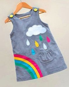 Little girls rainbow dress with silver cloud applique by Wild Things Funky Little Dresses Sewing For Kids, Baby Sewing, Sewing Clothes, Diy Clothes, Dress Sewing, Little Girl Dresses, Girls Dresses, Dress Girl, Funky Dresses