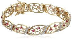18k Yellow Gold-Plated Sterling Silver Ruby and Diamond Accent Bracelet )
