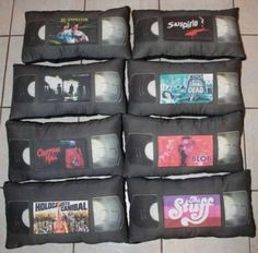 VHS horror movie pillow