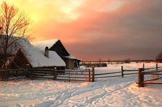 wintery day on a Russian farm