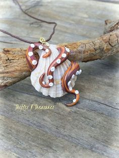 Guarding Seashells Polymer Clay Tentacle Pendant Necklace-Large Shell