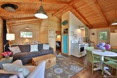Small / House / Home / Cabin / Decor / Interior Design Cabana, Cabins For Sale, Tiny House Cabin, Tiny Houses, Cabin Homes, Harbor House, Tiny Spaces, Waterfront Homes, Cabin Plans