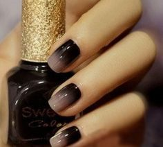 reverse ombré nude and black #nails