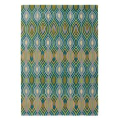 Deco Rug in Peacock (Geometric Pattern, Rug Sample) | Handmade Area Rugs from Company C (New)
