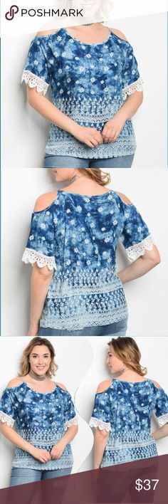  Plus size blue floral cold shoulder top Plus size blue floral cold shoulder top with crocheted lacy trim on sleeves. Pair this with jeans, a skirt, capris, shorts... it will become  your go-to staple blouse! So pretty and fun for spring and summer. Get ready to soak up the sun and turn some heads! ✅I ship same or next day ✅Bundle for discount Tops Blouses